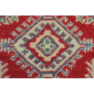 Brunoy Kazak Hand Knotted Wool Red Area Rug