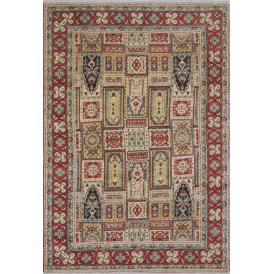 Brush Kazak Hand Knotted Wool Ivory Area Rug