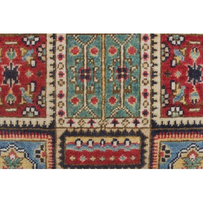 Brushton Kazak Hand Knotted Wool Red Area Rug