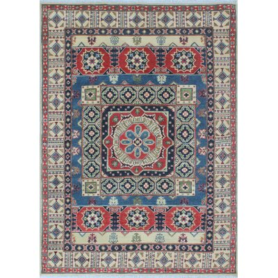 Bryce Kazak Hand Knotted Wool Blue Area Rug