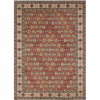 Mervela Kazak Hand Knotted Wool Red Area Rug