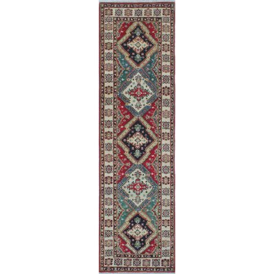 Buckner Kazak Hand Knotted Wool Red Area Rug