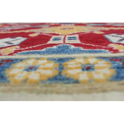 Mina Kazak Hand Knotted Wool Red Area Rug