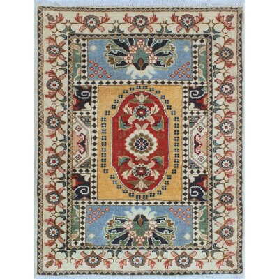 Buena Park Kazak Hand Knotted Wool Ivory Area Rug
