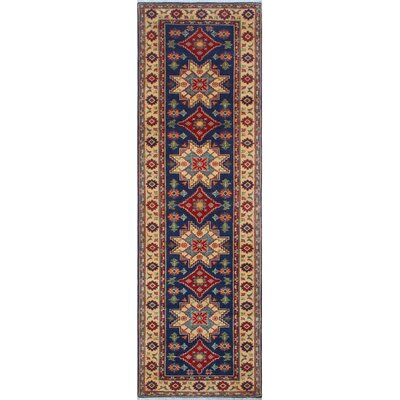 Bulkley Kazak Hand Knotted Wool Blue Area Rug