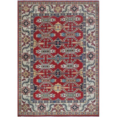 Moonya Kazak Hand Knotted Wool Red Area Rug