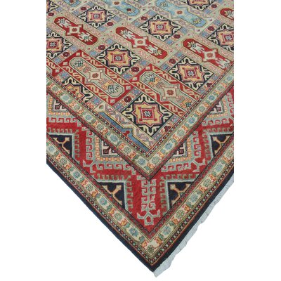 Bullins Kazak Hand Knotted Wool Red Area Rug
