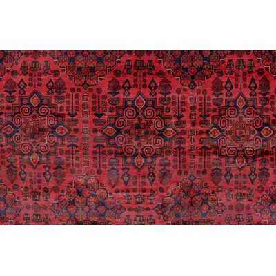 Alban Hand Knotted Wool Rectangle Red Area Rug