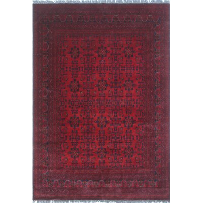 Alban Hand Knotted 100% Wool Red Area Rug