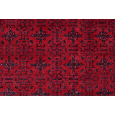 Alban Hand Knotted 100% Wool RectangleRed Area Rug