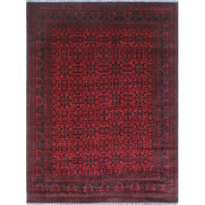 Alban Hand Knotted Wool Red Area Rug
