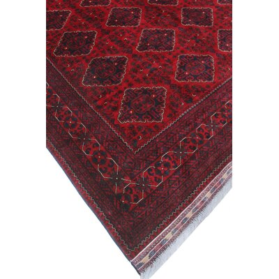 Linda Oriental Hand Knotted Wool Red Area Rug