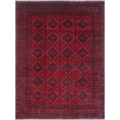 Linda Hand Knotted Wool Rectangle Red Area Rug