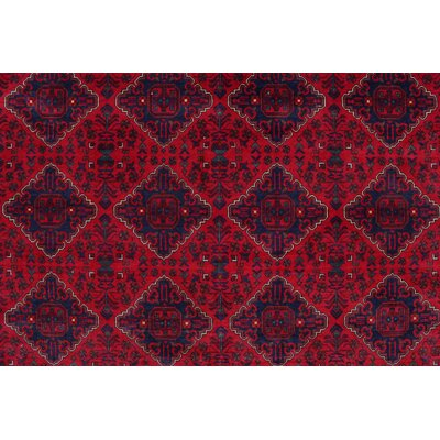 Linda Hand Knotted 100% Wool Red Area Rug
