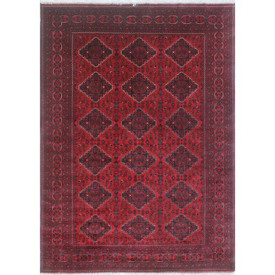 Linda Hand Knotted Wool Red Area Rug