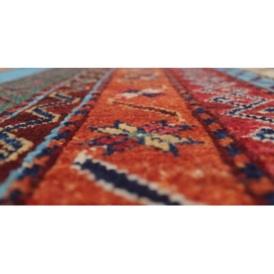 Bulloch Hand Knotted Wool Blue Area Rug