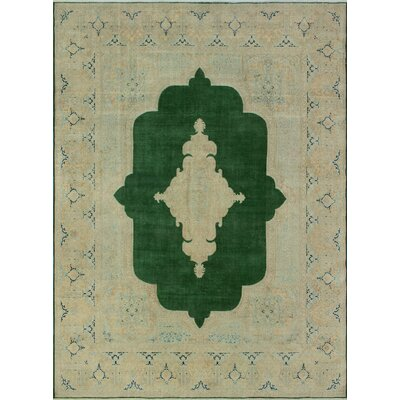 Bulwell Vintage Distressed Hand Knotted Wool Green Area Rug