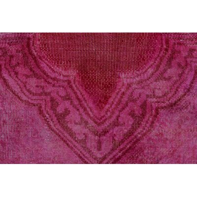 Gelston Vintage Distressed Magenta Hand Knotted Wool Pink Area Rug