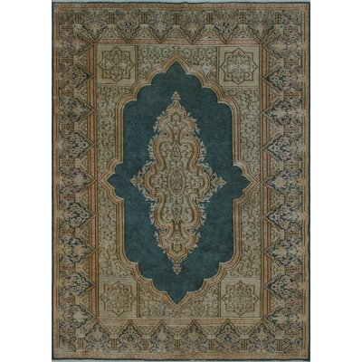 Croxley Vintage Distressed Hand Knotted Wool Blue Area Rug