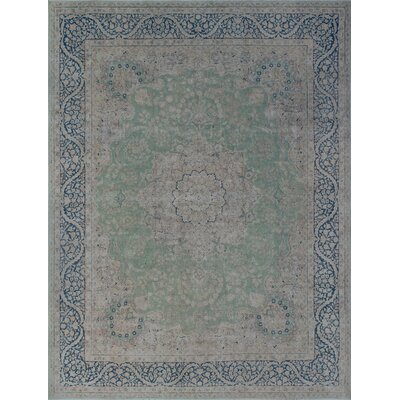 Dartmouth Vintage Distressed Hand Knotted Wool Green Area Rug