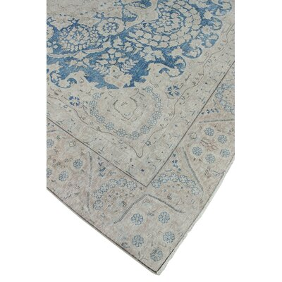 Quinault Vintage Distressed Hand Knotted Wool Blue Area Rug