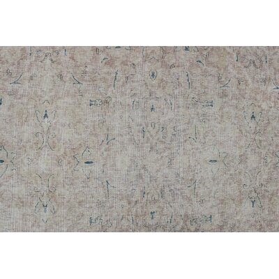 Engver Vintage Distressed Hand Knotted Wool Beige Area Rug