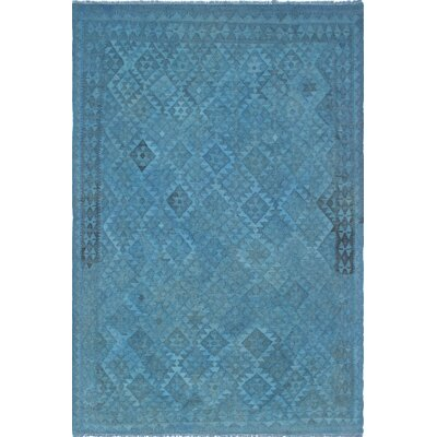 Bunche Overdyed Kilim Hand Woven Wool Blue Area Rug
