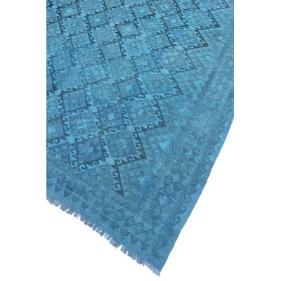 Bunche Park Overdyed Kilim Hand Woven Wool Blue Area Rug