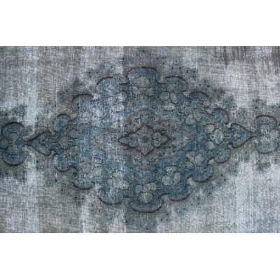 Airlia Overdyed Kirman Hand Knotted Wool Gray Area Rug