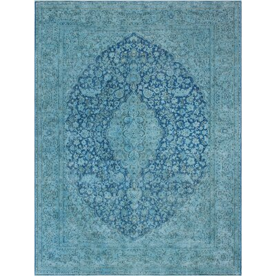Bundyhill Overdyed Kirman Hand Knotted Wool Blue Area Rug