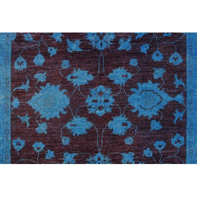 Blakeslee Hand Knotted 100% Wool Blue Area Rug