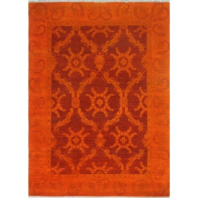 Blakeslee Hand Knotted Wool Orange Area Rug