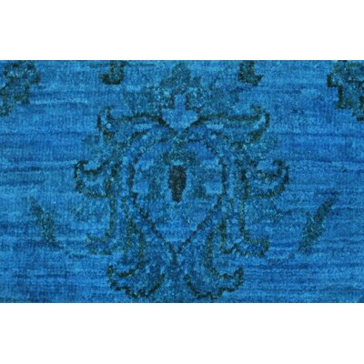 Blakeslee Hand Knotted Wool Rectangle Blue Area Rug