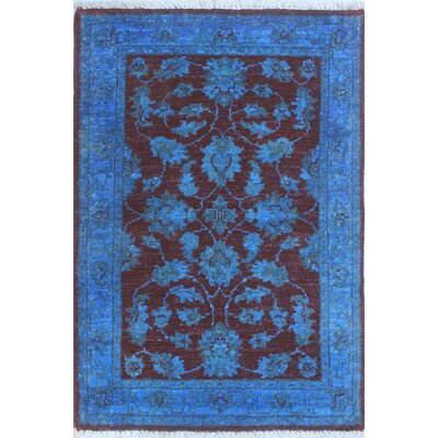Blakeslee Oriental Hand Knotted Wool Blue Area Rug