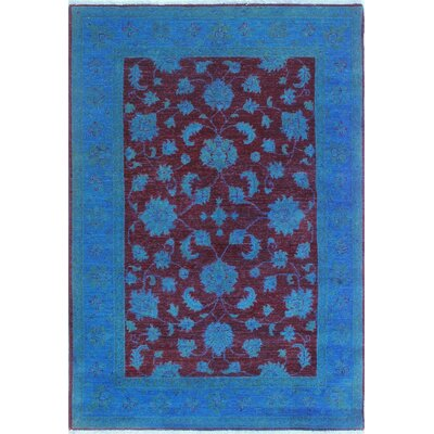 Blakeslee Traditional Hand Knotted Wool Blue Area Rug