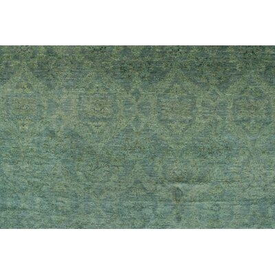 Blakeslee Knotted Wool Teal Green Area Rug