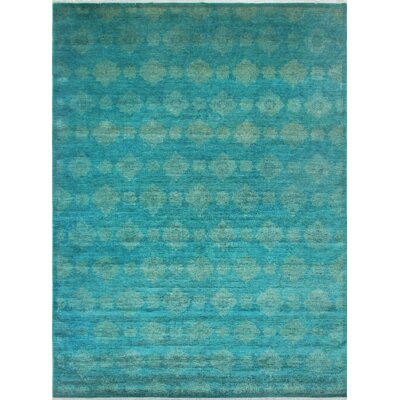 Blakeslee Knotted Wool Teal Blue Area Rug