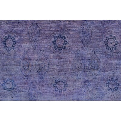 Blakeslee Knotted Wool Rectangle Purple Area Rug
