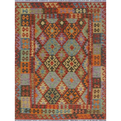 Vallejo Kilim Hand Woven Wool Red Area Rug