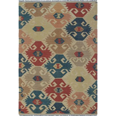 Vallejo Kilim Hand Woven Wool Rectangle Ivory Area Rug