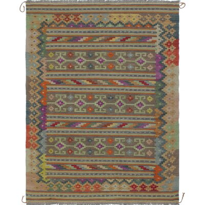 Rucker Kilim Hand Woven Wool Gray Southwestern Area Rug