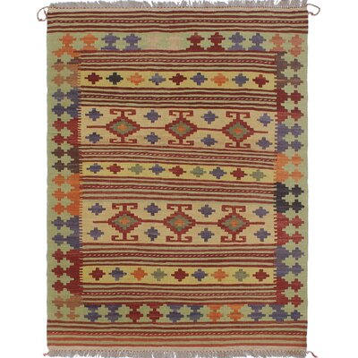 Vallejo Traditional Kilim Hand Woven Wool Rectangle Beige/Red Area Rug