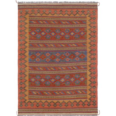 Rucker Kilim Hand Woven Wool Orange Area Rug