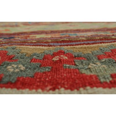 Rucker Kilim Hand Woven Wool Brown Area Rug