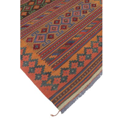 Rucker Kilim Hand Woven Wool Orange/Brown Area Rug