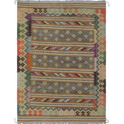 Vallejo Kilim Hand Woven 100% Wool Rectangle Beige Area Rug