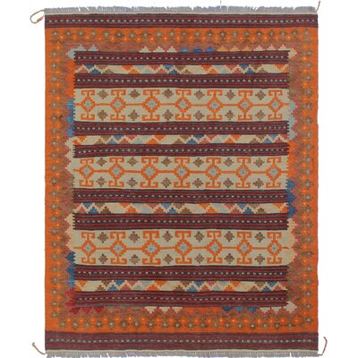Vallejo Traditional Kilim Hand Woven Premium Wool Rectangle Beige Fringe Area Rug