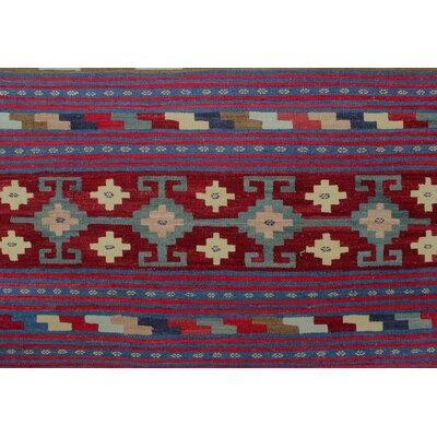 Vallejo Kilim Hand Woven Wool Red Fringe Area Rug
