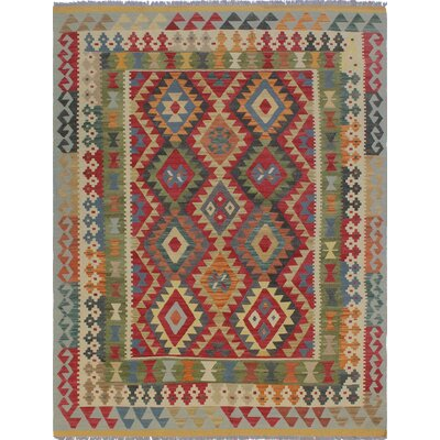Vallejo Kilim Hand Woven Wool Red/Green Area Rug