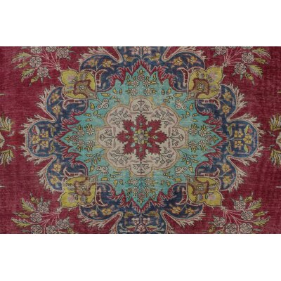 Canoga Vintage Distressed Hand Knotted Wool Red Area Rug
